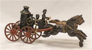 """Iron Three Horse Drawn Fire Wagon 10"""" L x 4"""" H"""