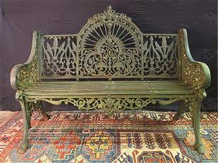 """Cast Iron Garden Bench with Old Green Paint 48"""" W x 24"""""""