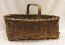 "Very Heavy, Large Splint Harvest Basket 24"" L x 18"" W x"