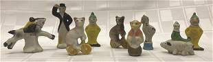 Set of 9 Miniature Porcelain Figurines ranging from