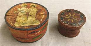 Two Paint-decorated German Boxes Small Turned Wooden