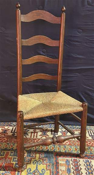 Walnut Delaware Valley 4 Slat Ladder Back Chair with