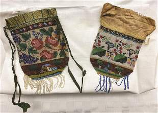 Two PA German Silk Topped Small Beaded Purses with Draw
