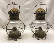 Pair of Davey & Co. London Brass Kerosene Globe
