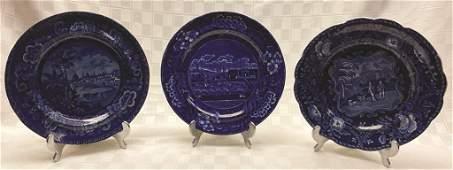 "Three Historical Staffordshire Plates ""The Landing of"