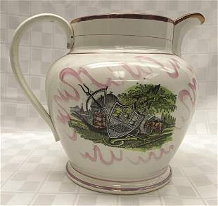 "Pink Lustre Sailor's Pitcher 8.5"" H x 11"" W (handle to"