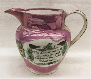 "Pink Lustre Sailor's Pitcher, ""The Ship is Moor'd"""