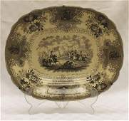 "Brown Historical Staffordshire Platter 14.25"" x"