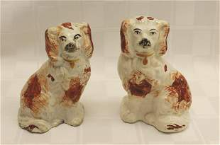 """Pair of Red and White Staffordshire Spaniels 3.5"""" x"""