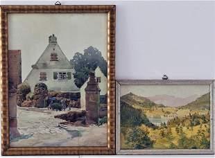 """Watercolor farm - sign. """"WW 1919"""""""