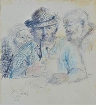 Johann Martin Scheible (1873-1954, Ulm) - Drawing Inn
