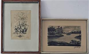 Set of drawings, 2 pieces
