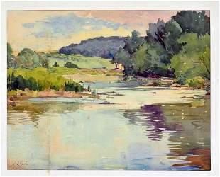 Paul Dörr (1892-1965) - Watercolor Neckar near