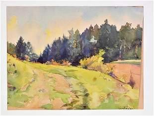 Paul Dörr (1892-1965) - Watercolor landscape with