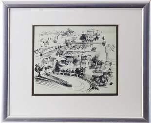 János Bizse (1920-1981, Pécs) - ink drawing village