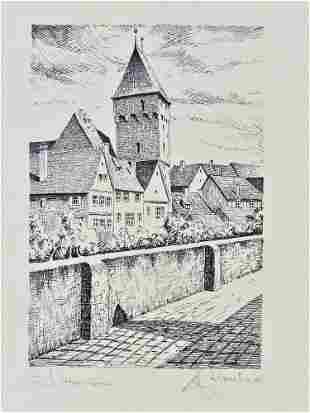 "Ink drawing Metzgerturm Ulm - sign. ""H. Leonhardt"""