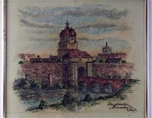 "chalk drawing former Frauentor Ulm - sign. ""L. Ade"