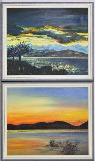 """Pair of paintings """"Lake Constance"""""""