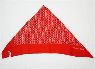 Red Christian Dior Logo Scarf