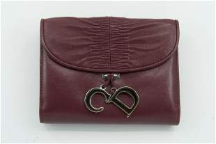 Christian Dior Purple Leather CD Charm Wallet
