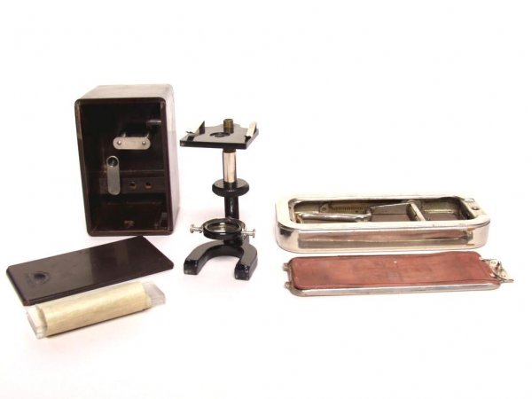 406: Vintage Microscope and Shaving Strop