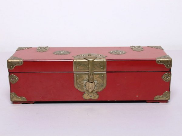 9: Chinese Brass Mounted Lacquer Box