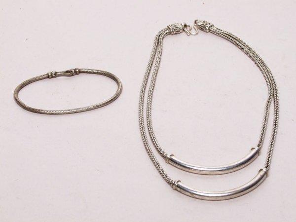 411: Tribal Fine Silver Bracelet and Necklace