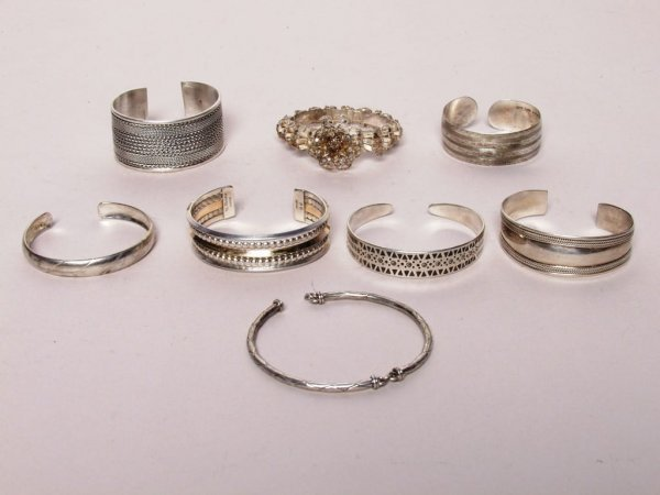 412: 8 Items Tribal Silver Bracelets