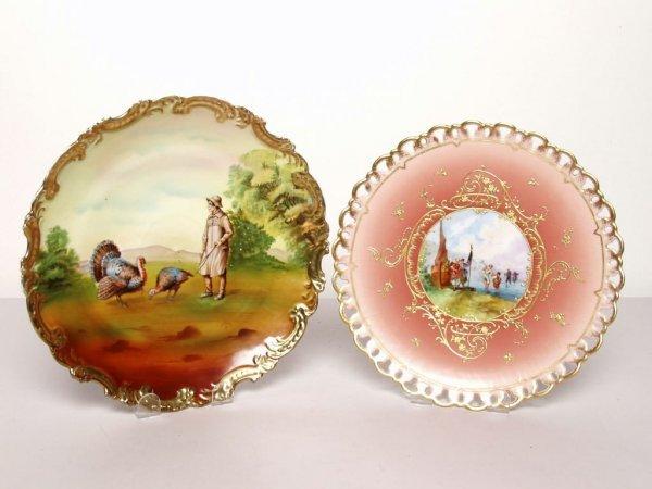414: 2 Antique German Porcelain Plates
