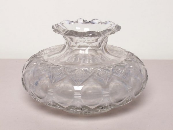 444: Heavy Cut Crystal Vase