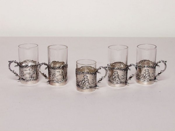15: 5 Miniature British Sterling Silver Cups
