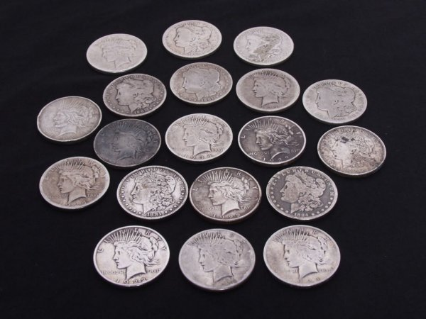 319: U.S. Coins: 19 Various Silver Dollars