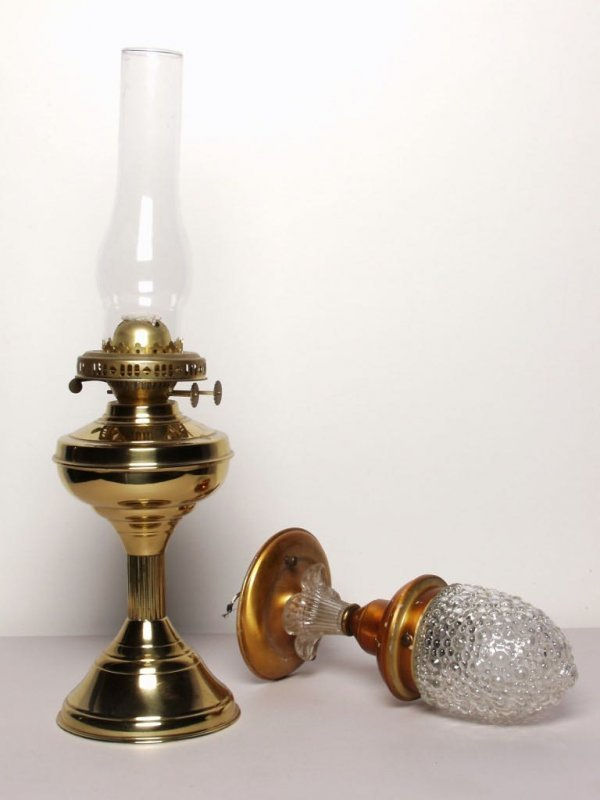 16: Brass Coal Oil Lamp and a Ceiling Fixture