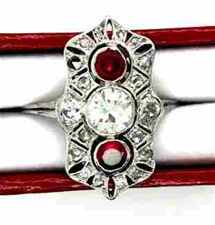Art Deco Platinum Diamond & Ruby Ring