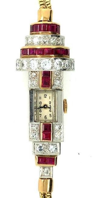 1940 Retro Platinum Yellow Gold Ruby & Diamond Ladies