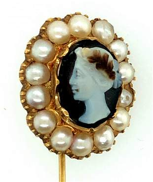 Victorian 14K Gold 3 Layer Agate Cameo Pearl Stick Pin