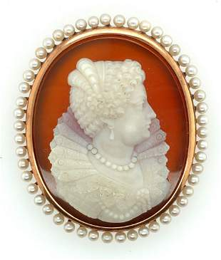 Victorian 14K Yellow Gold Agate Cameo & Pearl Brooch