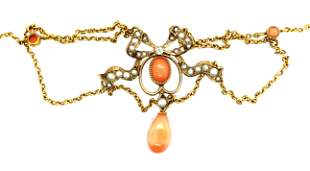 Art Nouveau 18K Yellow Gold Pearl & Coral Necklace