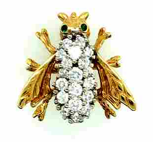 Fine 14K Yellow Gold & Diamond Bumble Bee Pin