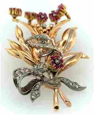18K White & Yellow Gold Diamond Ruby Retro Flower