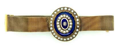 Victorian 18K Yellow Gold Blue Enamel Diamond & Pearl