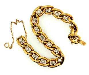 Vintage 18K Yellow Gold Diamond & Pearl Bracelet