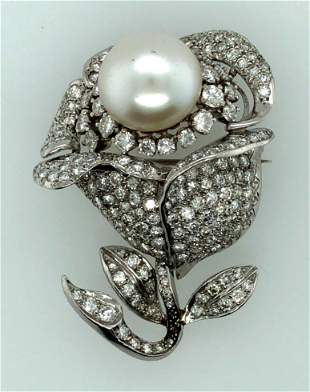Platinum Diamond & South Sea Pearl Brooch