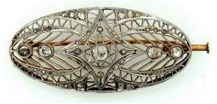 Edwardian Platinum over Yellow Gold Diamond Oval Pin