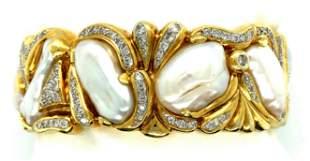 Vintage 18K Yellow Gold Diamond & Baroque Pearl Bangle