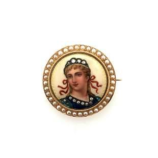 Art Nouveau French 18K Yellow Gold Enamel Pin .