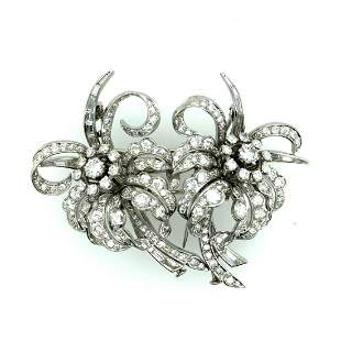 Late Deco French Platinum & Diamond Double Clip Brooch