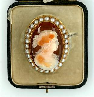 Victorian 18K Yellow Gold 3 Layer Agate Cameo Pearl