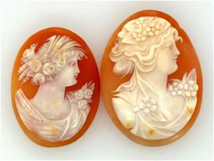 Lot of 2 Victorian Italian Unmounted Shell Cameos