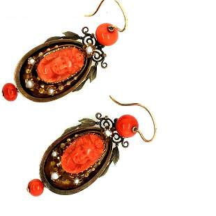 Victorian 14K Yellow Gold Coral Cameo Earrings